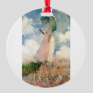 Claude Monet's Woman with a Parasol Round Ornament