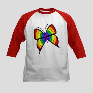 Rainbow Butterfly Kids Baseball Jersey