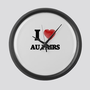 I love Au Pairs (Heart made from Large Wall Clock