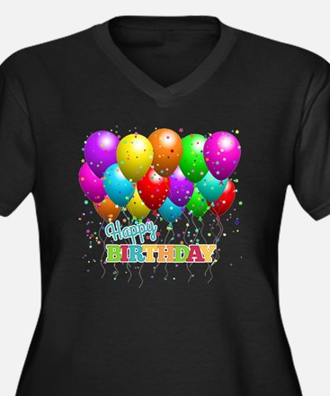 Cute Happy birthday Women's Plus Size V-Neck Dark T-Shirt
