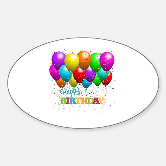 Cute Birthday Sticker (Oval)