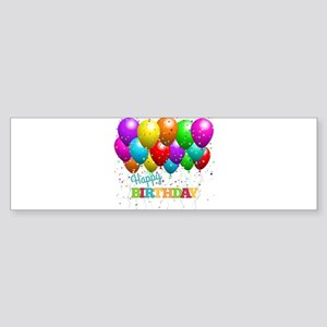 Trendy Happy Birthday Balloons Bumper Sticker