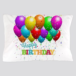 Trendy Happy Birthday Balloons Pillow Case