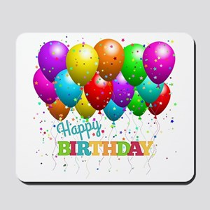 Trendy Happy Birthday Balloons Mousepad