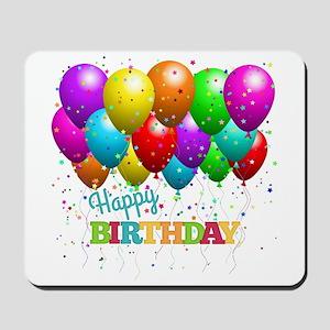 Trendy Happy Birthday Balloons Mousepad