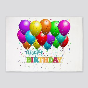 Trendy Happy Birthday Balloons 5'x7'Area Rug