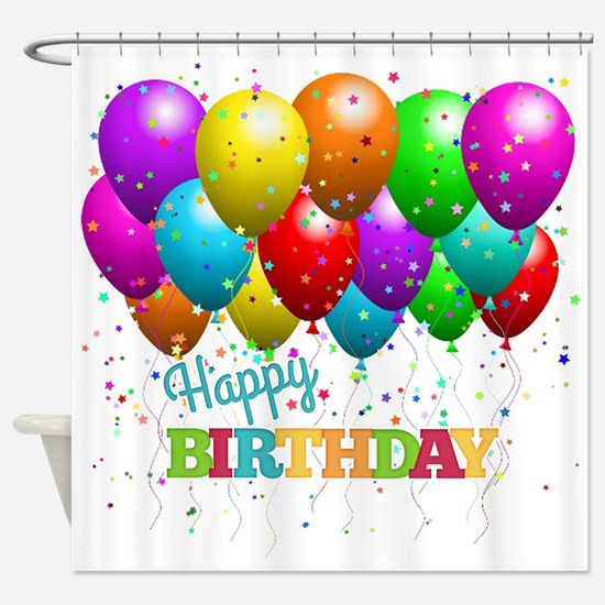 Trendy Happy Birthday Balloons Shower Curtain