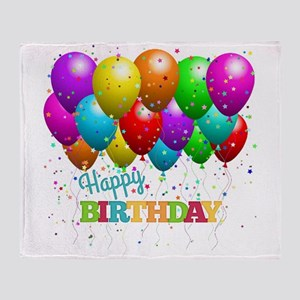Trendy Happy Birthday Balloons Throw Blanket