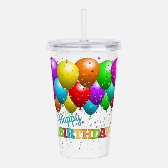 Trendy Happy Birthday Acrylic Double-wall Tumbler