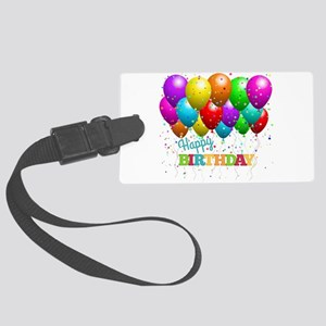 Trendy Happy Birthday Balloons Large Luggage Tag