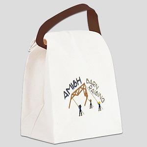 Amish Barn Raising Canvas Lunch Bag