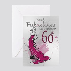 60th Birthday Stylish Female Card Greeting Cards