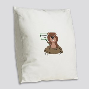 Groundhog Day Burlap Throw Pillow