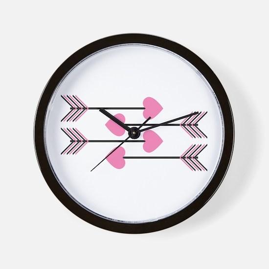 Valentines Arrows Wall Clock