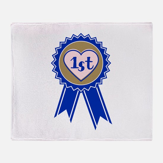 1st Blue Ribbon Throw Blanket
