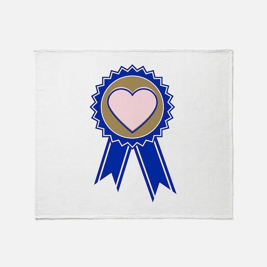 Love Blue Ribbon Throw Blanket