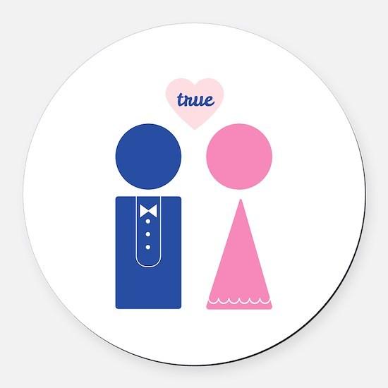 True Love Round Car Magnet