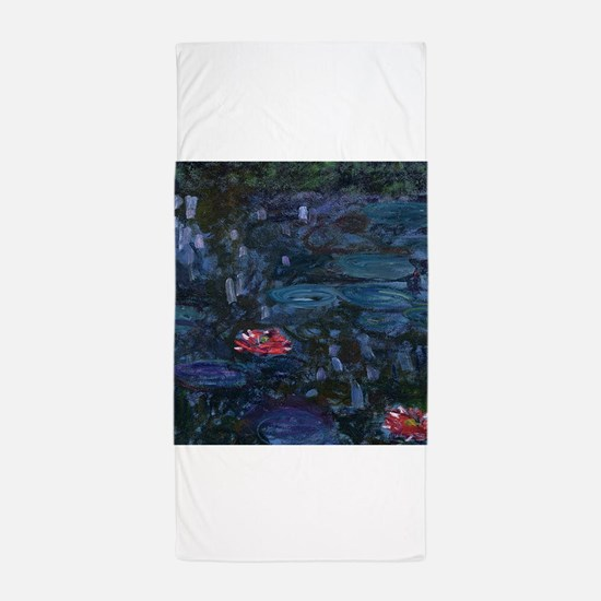 Claude Monet's Nympheas reflets de sau Beach Towel