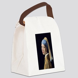 Johannes Vermeer's Girl with a Pe Canvas Lunch Bag