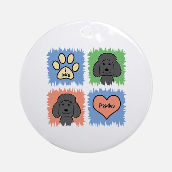 Cute Poodle mom Round Ornament