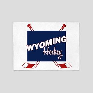 Wyoming Hockey 5'x7'Area Rug
