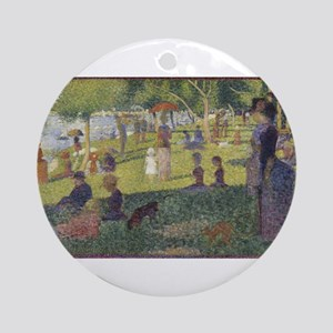 Georges Seurat's A Sunday Afternoon Round Ornament