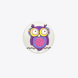 Colorful Owl Mini Button