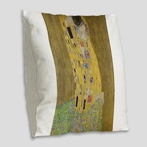Gustav Klimt's The Kiss Burlap Throw Pillow
