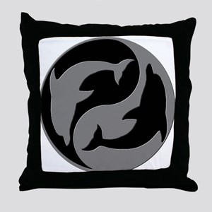 Grey And Black Yin Yang Dolphins Throw Pillow