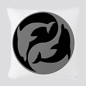 Grey And Black Yin Yang Dolphins Woven Throw Pillo