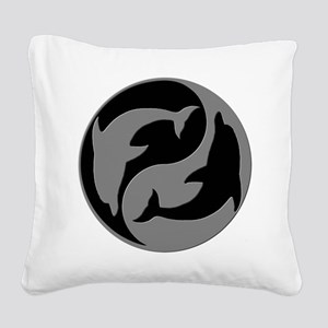 Grey And Black Yin Yang Dolphins Square Canvas Pil