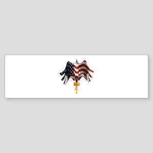 American Eagle and Cross Bumper Sticker