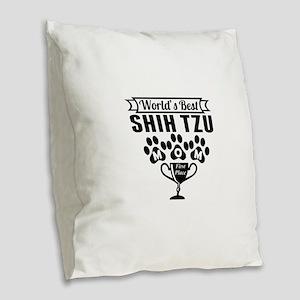 World's Best Shih Tzu Mom Burlap Throw Pillow
