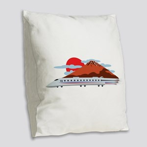 Bullett Train Burlap Throw Pillow