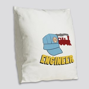 Train Engineer Burlap Throw Pillow