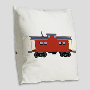 Caboose Burlap Throw Pillow