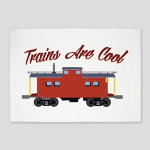 Trains Are Cool 5'x7'Area Rug