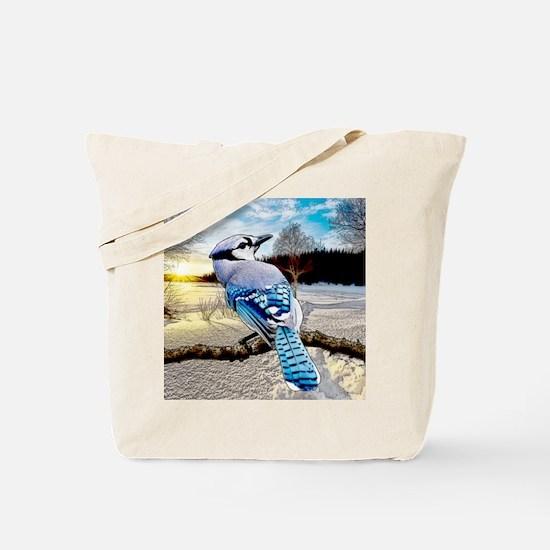 Blue Jay Sunrise Tote Bag