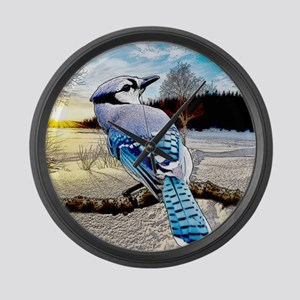 Blue Jay Sunrise Large Wall Clock