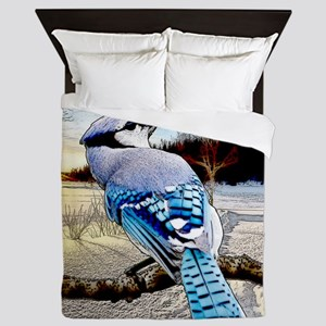 Blue Jay Sunrise Queen Duvet
