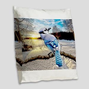 Blue Jay Sunrise Burlap Throw Pillow