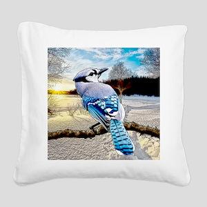 Blue Jay Sunrise Square Canvas Pillow