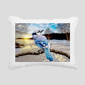 Blue Jay Sunrise Rectangular Canvas Pillow