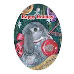 Rabbit Christmas Oval Ornament