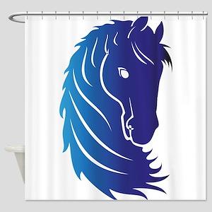 Rainbow Multicolored Horse Head Logo Equestrian Shower Curtains