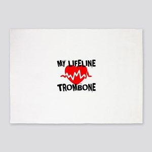 My Lifeline trombone Music 5'x7'Area Rug