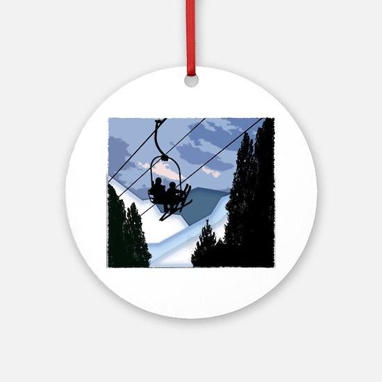 Cute Skis Round Ornament