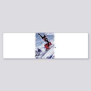 Skiing Down the Mountain in Red Bumper Sticker