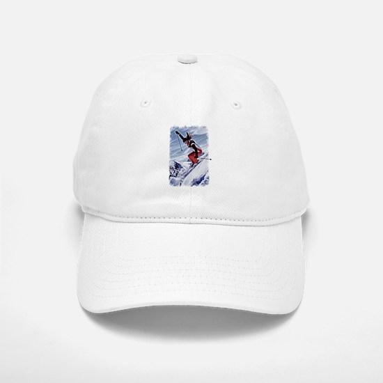Skiing Down the Mountain in Red Baseball Baseball Cap