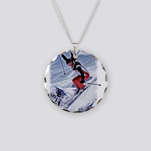Skiing Down the Mountain in Necklace Circle Charm